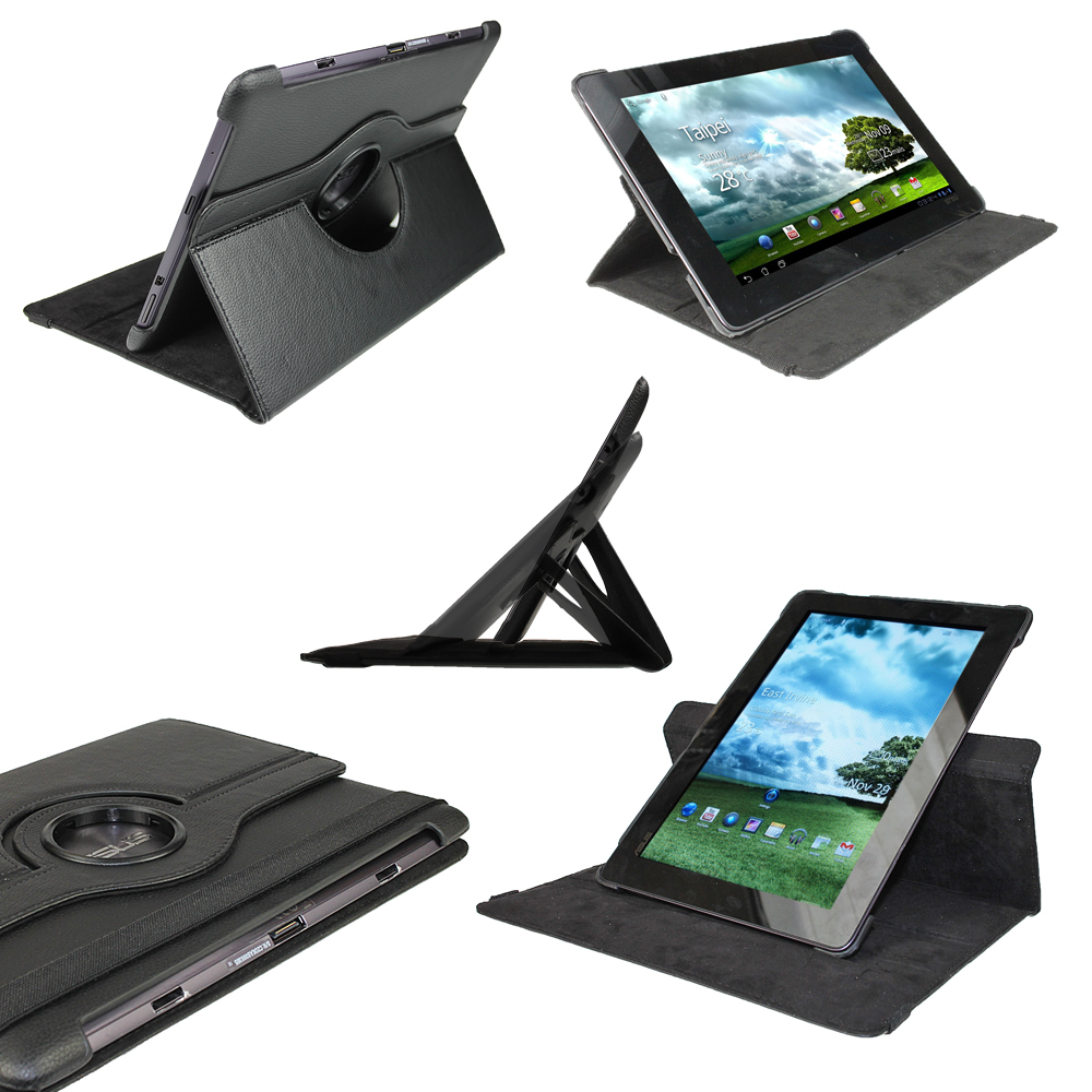 Black PU 360° Leather Case Cover for Asus Eee Pad Transformer Prime TF201 Tablet Enlarged Preview