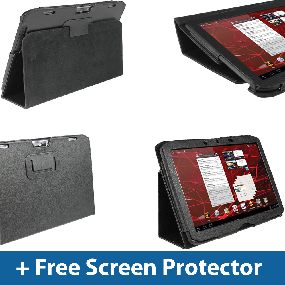 Black PU Leather Case Cover for Motorola Xoom 2 10.1