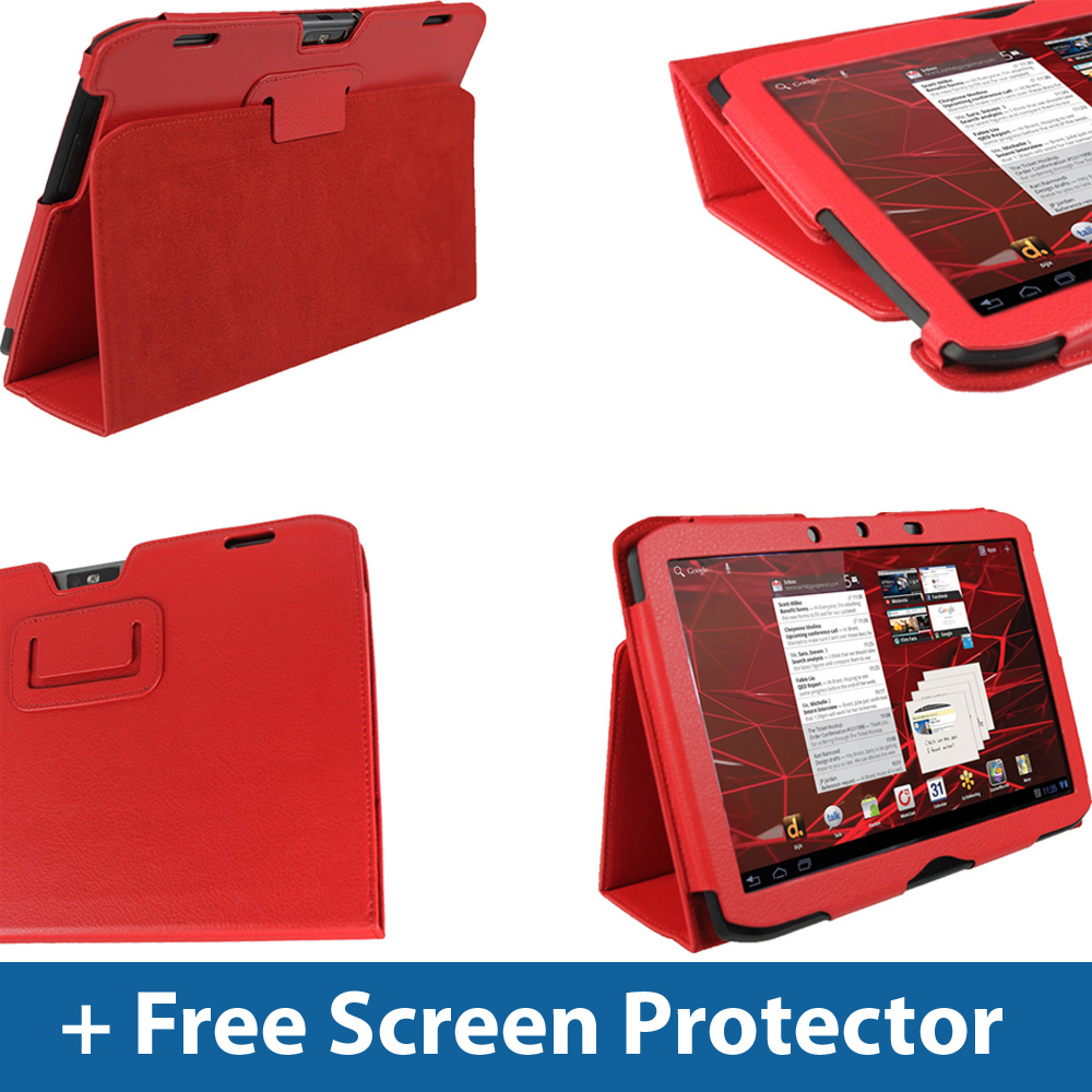 Red PU Leather Case Cover for Motorola Xoom 2 10.1
