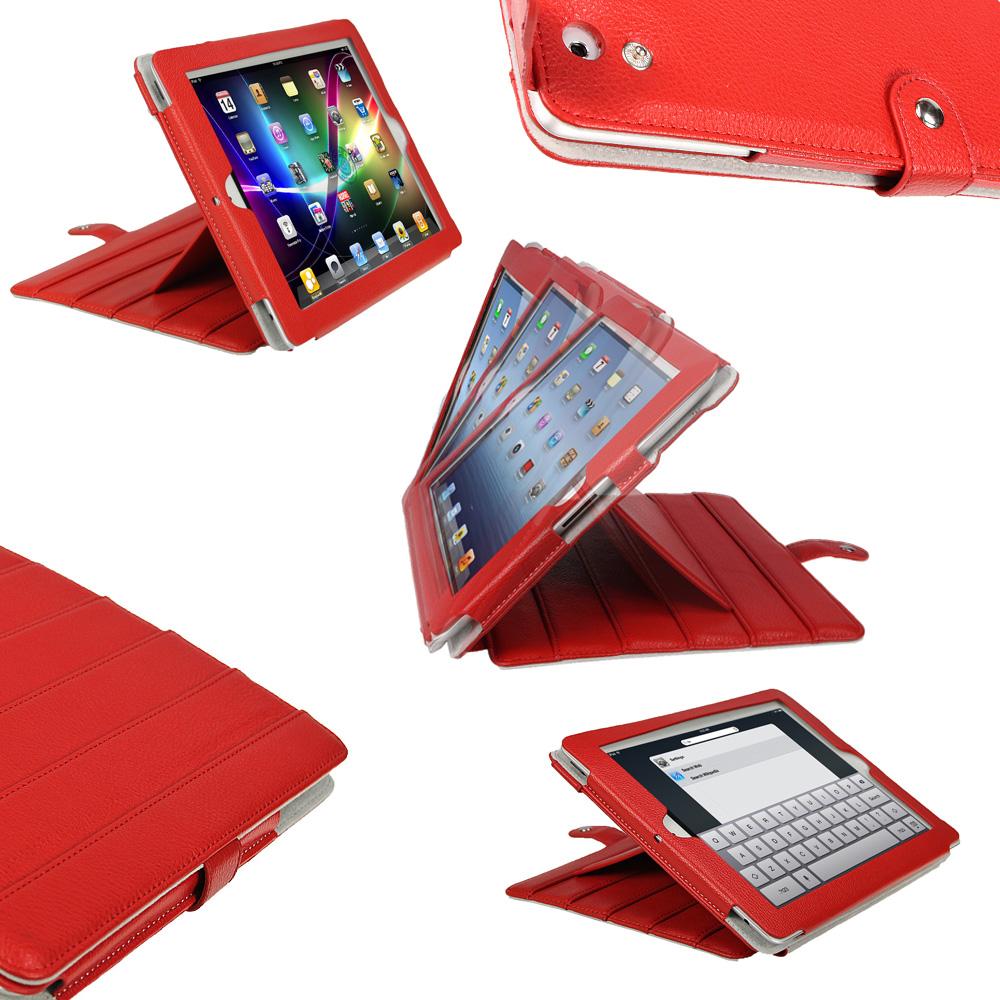 Rouge tui cuir pu pour apple ipad 2 3 nouveau 4 avec for Housse ipad 4