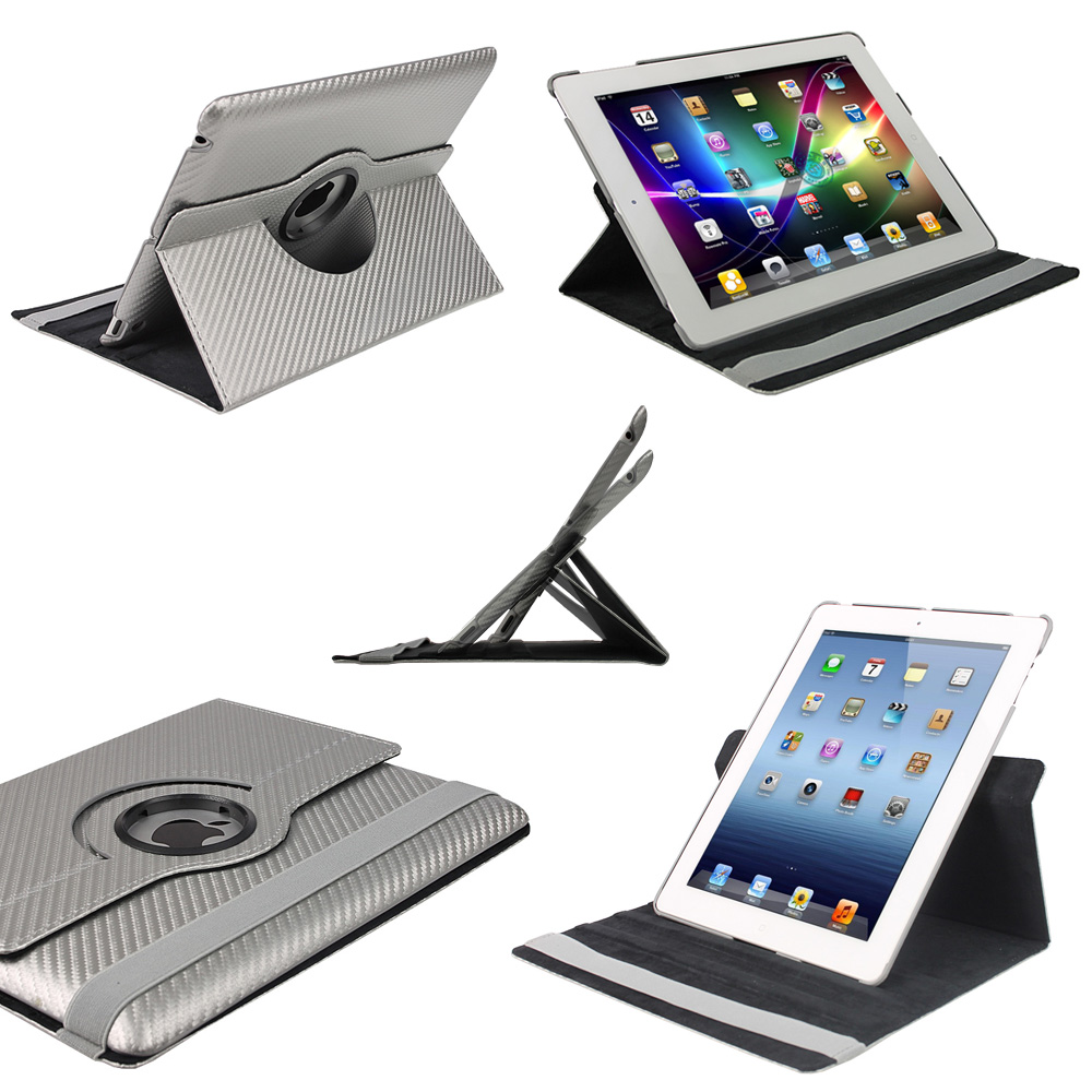 Silver 360° Hard Carbon Case for NEW Apple iPad 3 (3rd Generation) Wi-Fi Cover Enlarged Preview