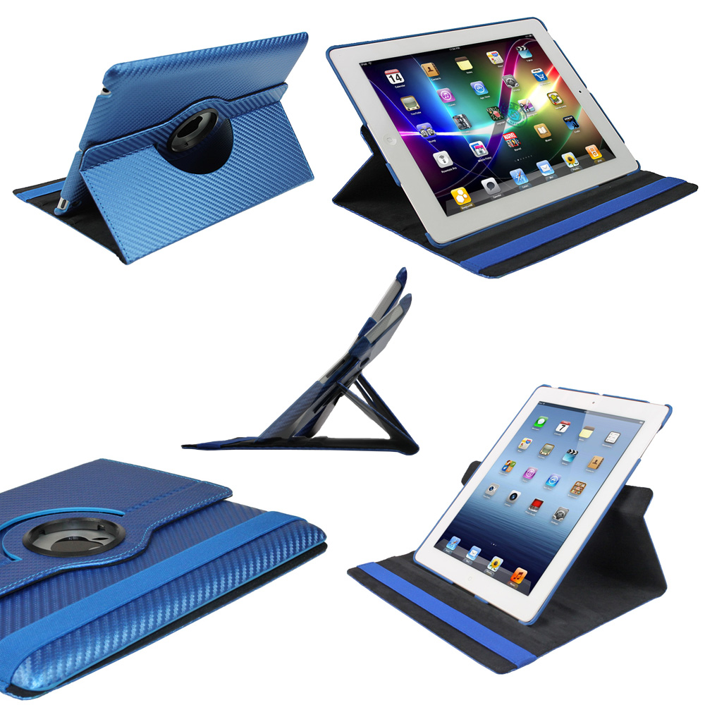 Blue 360° Hard Carbon Case for NEW Apple iPad 3 (3rd Generation) Wi-Fi 4G Cover Enlarged Preview