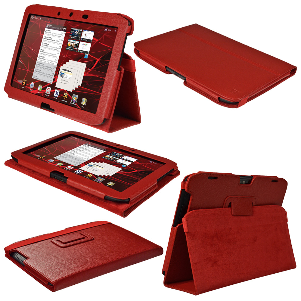Rouge Étui Housse Cuir pour Motorola Xoom 2 Droid Xyboard 10.1 16GB Wi-Fi Tablet Enlarged Preview