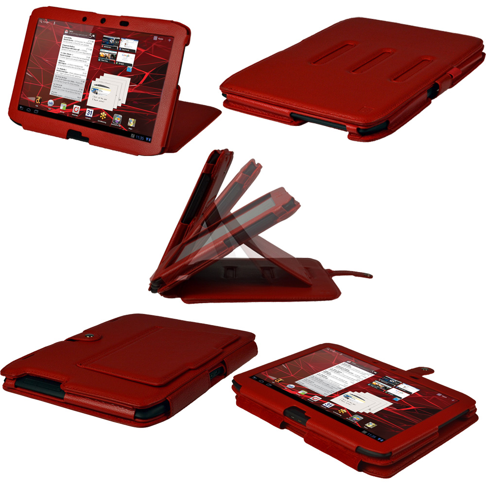 Red Leather Case Cover for Motorola Xoom 2 Droid Xyboard 10.1