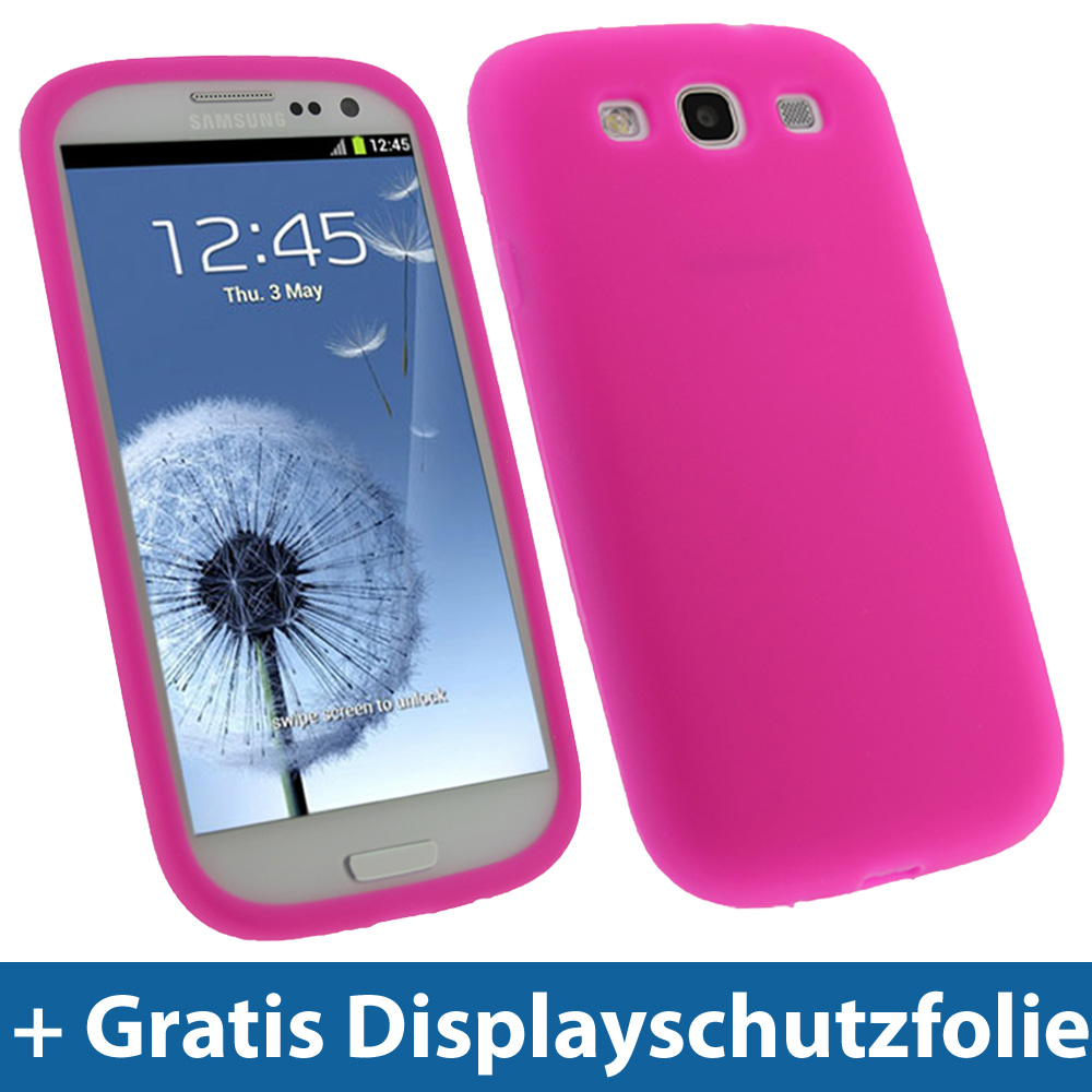 pink rosa silikon tasche f r samsung galaxy s3 iii i9300 android h lle skin ebay. Black Bedroom Furniture Sets. Home Design Ideas