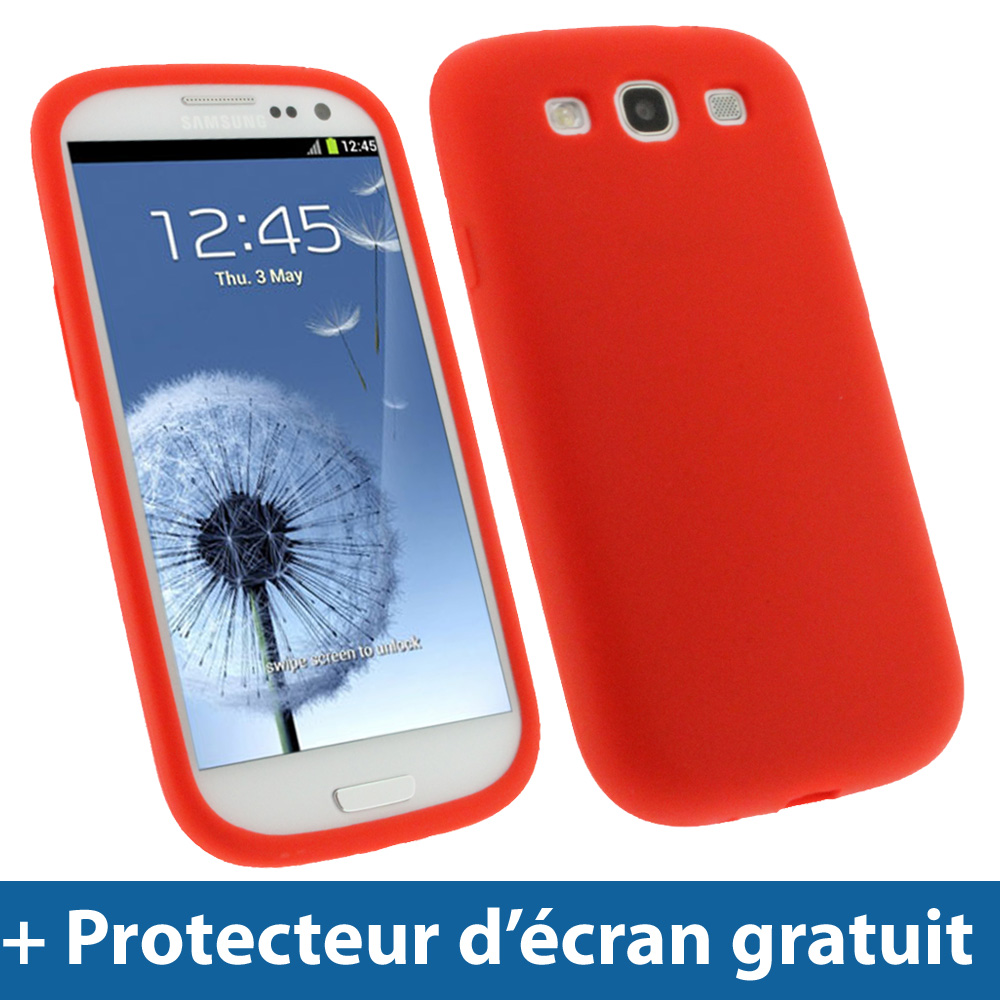 Rouge tui housse silicone pour samsung galaxy s3 iii for Housse samsung wave