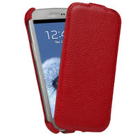 View Item iGadgitz Red Leather Flip Case Cover Holder for Samsung Galaxy S3 III i9300 Android Smartphone Mobile Phone