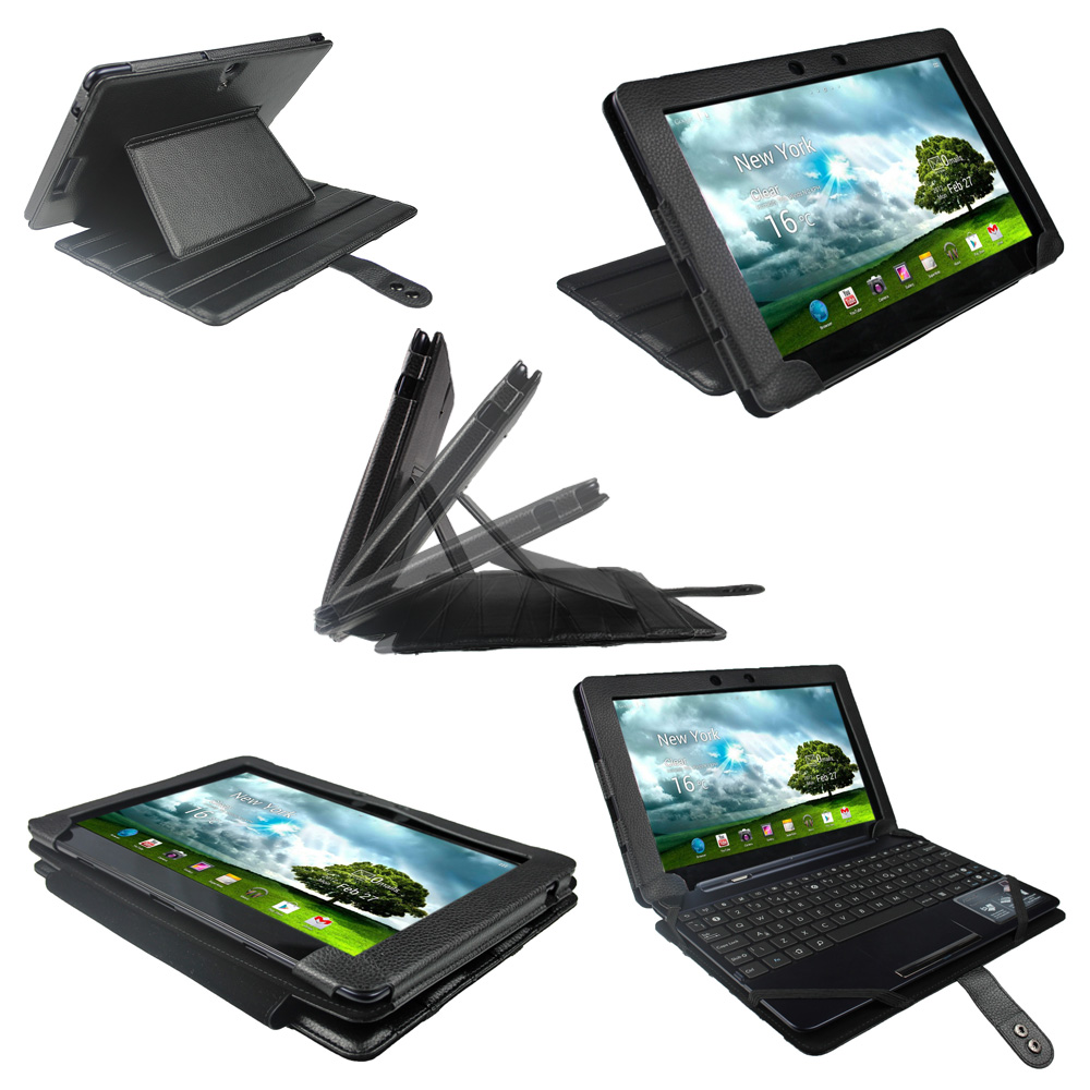 Black Leather Keyboard Case for Asus Eee Pad Transformer TF300 TF300T 10.1 Cover Enlarged Preview
