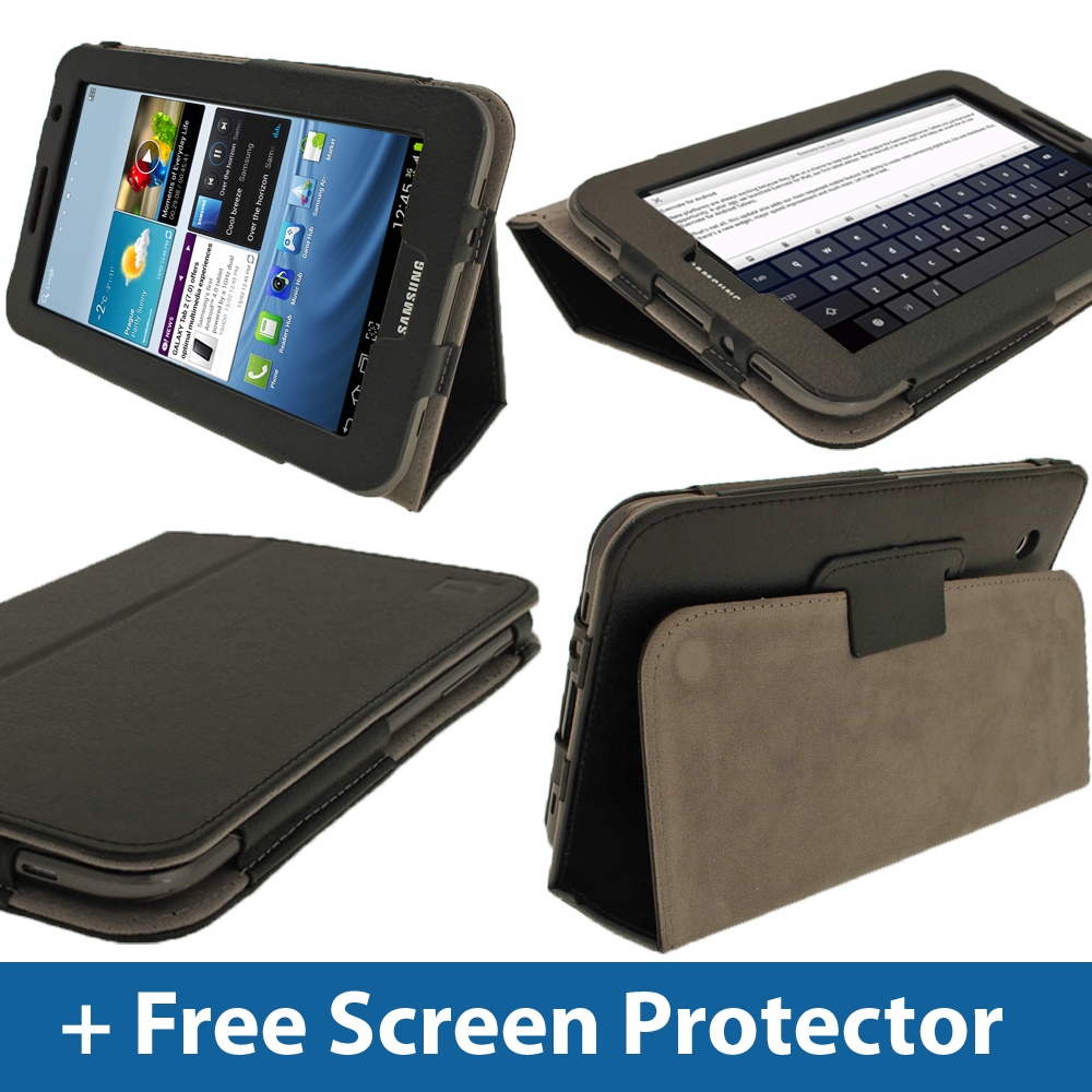 Black Leather Case for Samsung Galaxy Tab 2 7.0 P3100 P3110 Wifi 3G Cover Enlarged Preview
