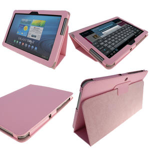 iGadgitz Pink 'Portfolio' PU Leather Case Cover for Samsung Galaxy Tab 2 10.1 P5100 P5110 3G & WiFi Android 4.0 Internet Tablet + Screen Protector Preview