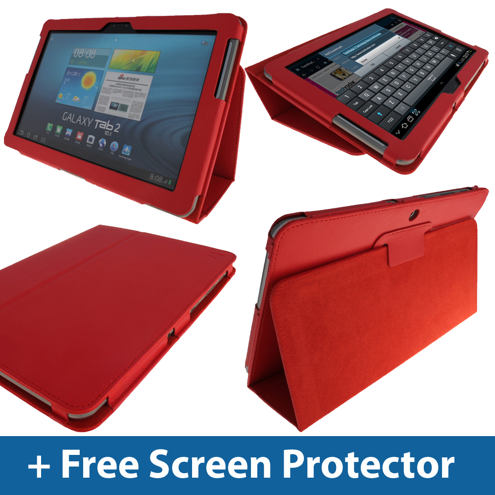 Red Leather Case for Samsung Galaxy Tab 2 10.1 P5100 P5110 Wifi 3G Android Cover Enlarged Preview