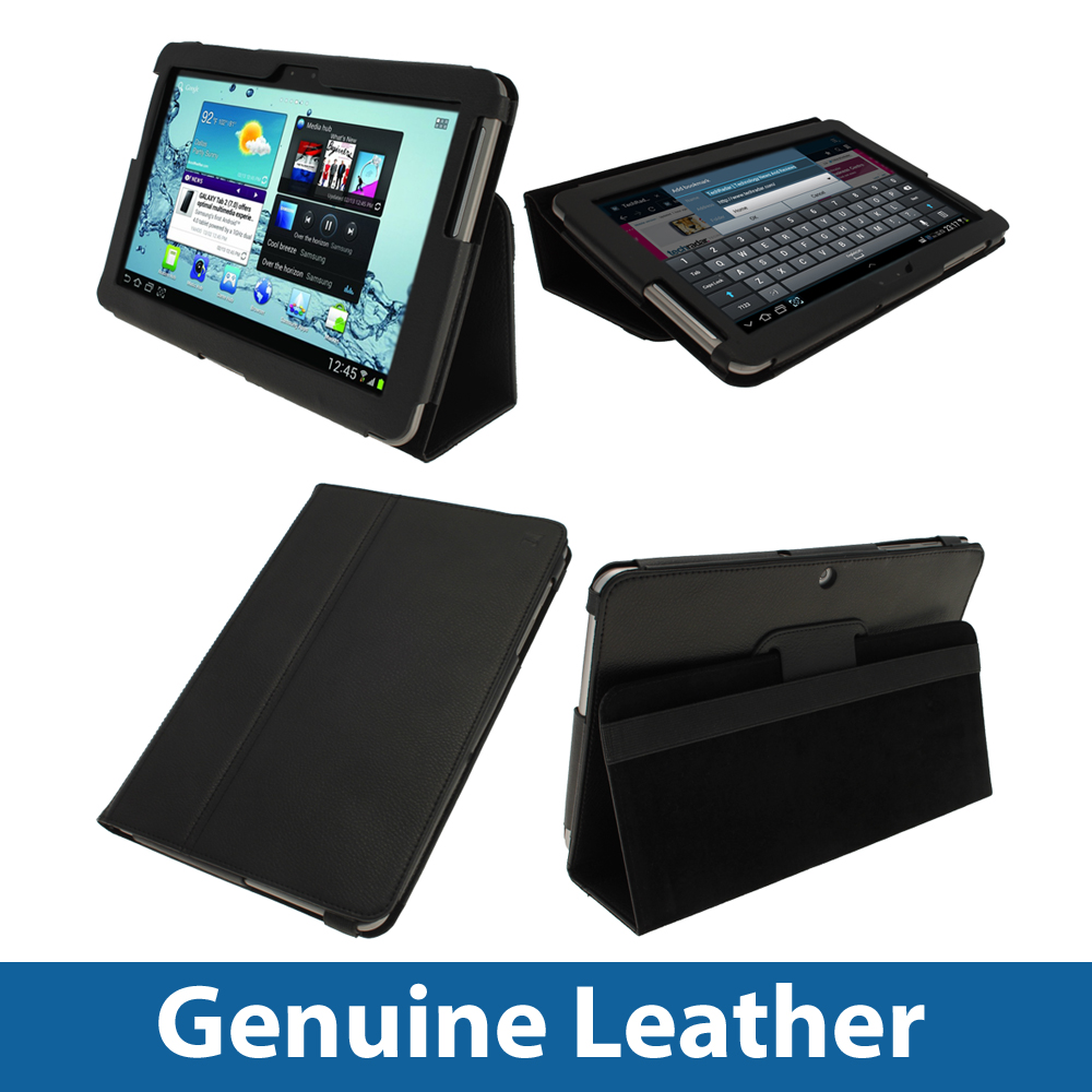 Black Leather Case for Samsung Galaxy Tab 2 10.1 P5100 P5110 Wifi 3G Cover Enlarged Preview