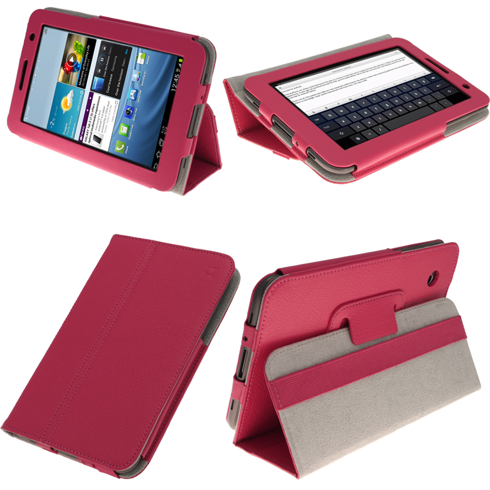 Pink Leather Case for Samsung Galaxy Tab 2 7.0 P3100 P3110 Wifi 3G Cover Holder Enlarged Preview