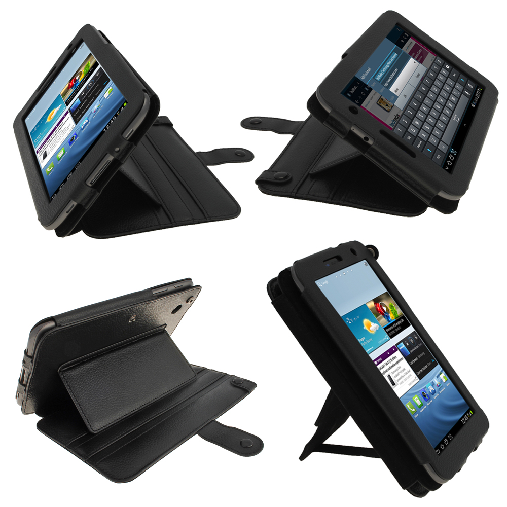 Black Leather Case for Samsung Galaxy Tab 2 7.0 P3100 P3110 Wifi 3G Cover Holder Enlarged Preview