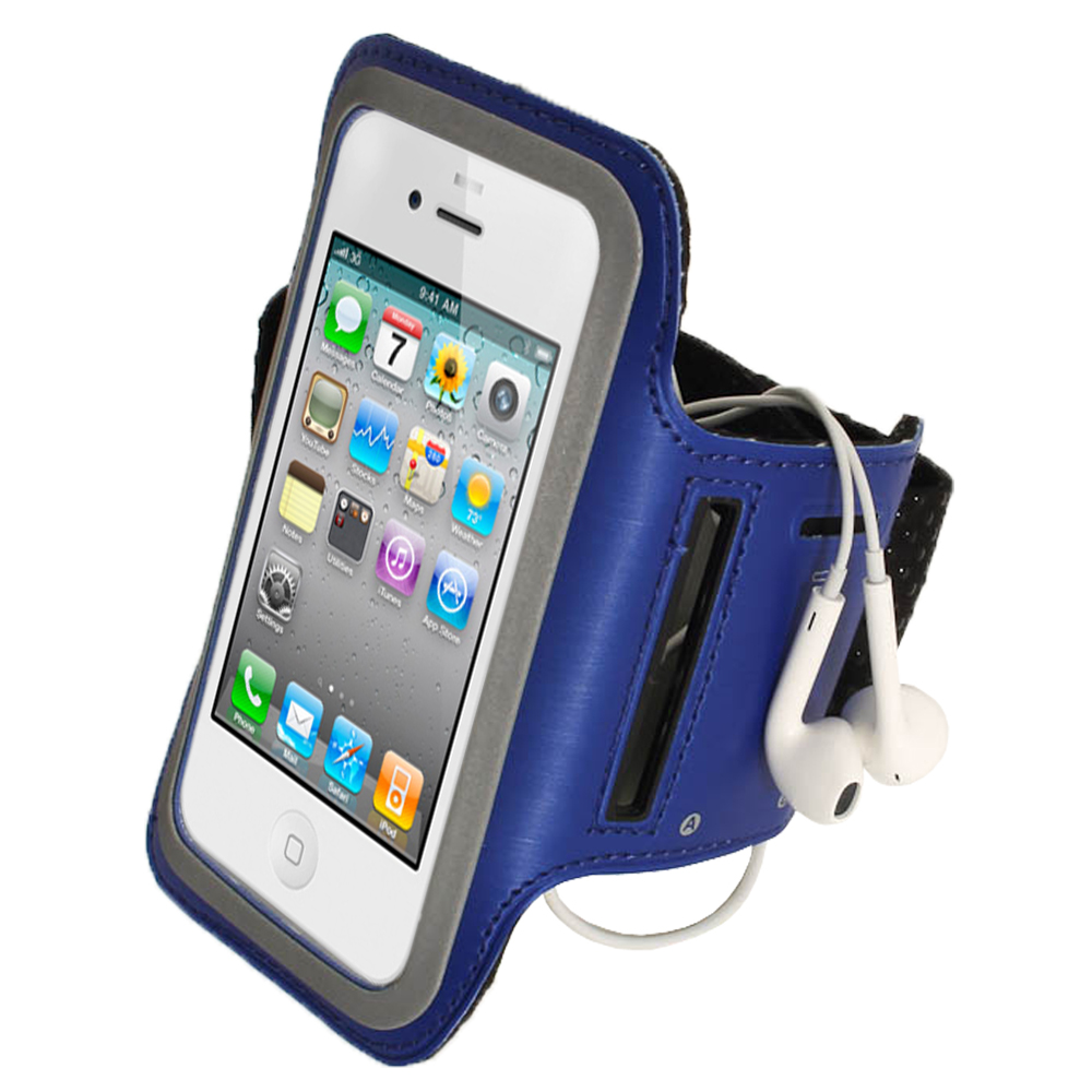 igadgitz blue reflective anti slip neoprene sports gym jogging armband for apple iphone se 5s. Black Bedroom Furniture Sets. Home Design Ideas