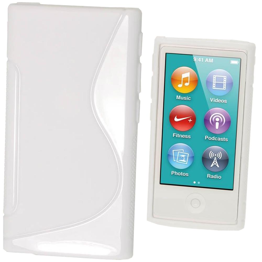 iGadgitz Dual Tone White Gel Case for Apple iPod Nano 7th Generation 7G 16GB + Screen Protector
