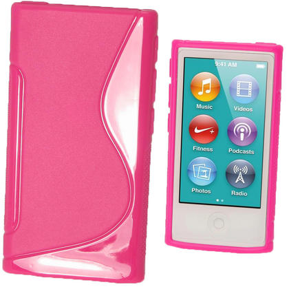 iGadgitz Dual Tone Hot Pink Gel Case for Apple iPod Nano 7th Generation 7G 16GB + Screen Protector Thumbnail 1