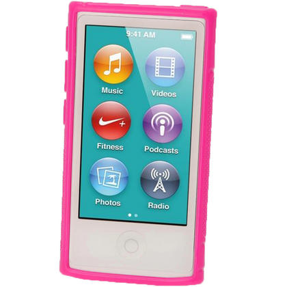iGadgitz Dual Tone Hot Pink Gel Case for Apple iPod Nano 7th Generation 7G 16GB + Screen Protector Thumbnail 2