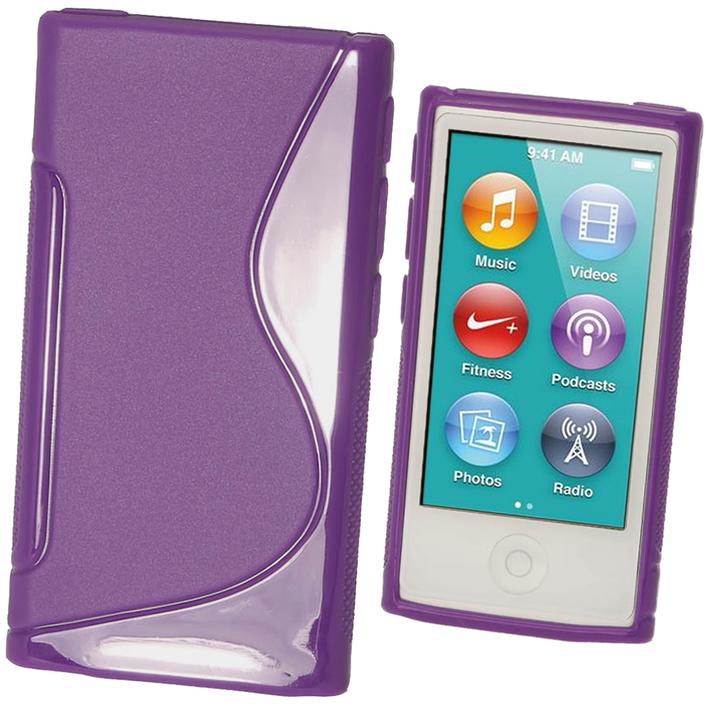 iGadgitz Dual Tone Purple Gel Case for Apple iPod Nano 7th Generation 7G 16GB + Screen Protector
