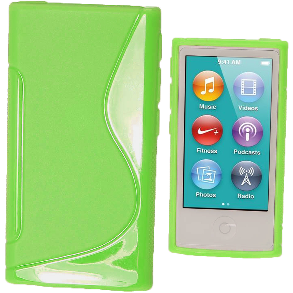 iGadgitz Dual Tone Green Gel Case for Apple iPod Nano 7th Generation 7G 16GB + Screen Protector