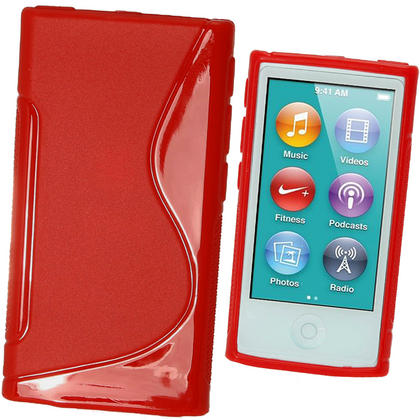 iGadgitz Dual Tone Red Gel Case for Apple iPod Nano 7th Generation 7G 16GB + Screen Protector Thumbnail 1