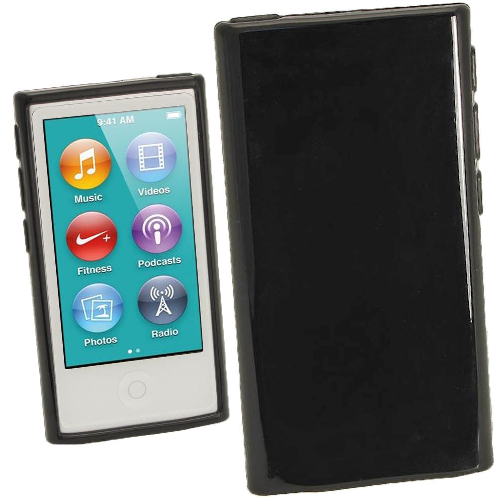 iGadgitz Black Glossy Gel Case for Apple iPod Nano 7th Generation 7G 16GB + Screen Protector