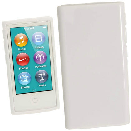iGadgitz White Glossy Gel Case for Apple iPod Nano 7th Generation 7G 16GB + Screen Protector Thumbnail 1