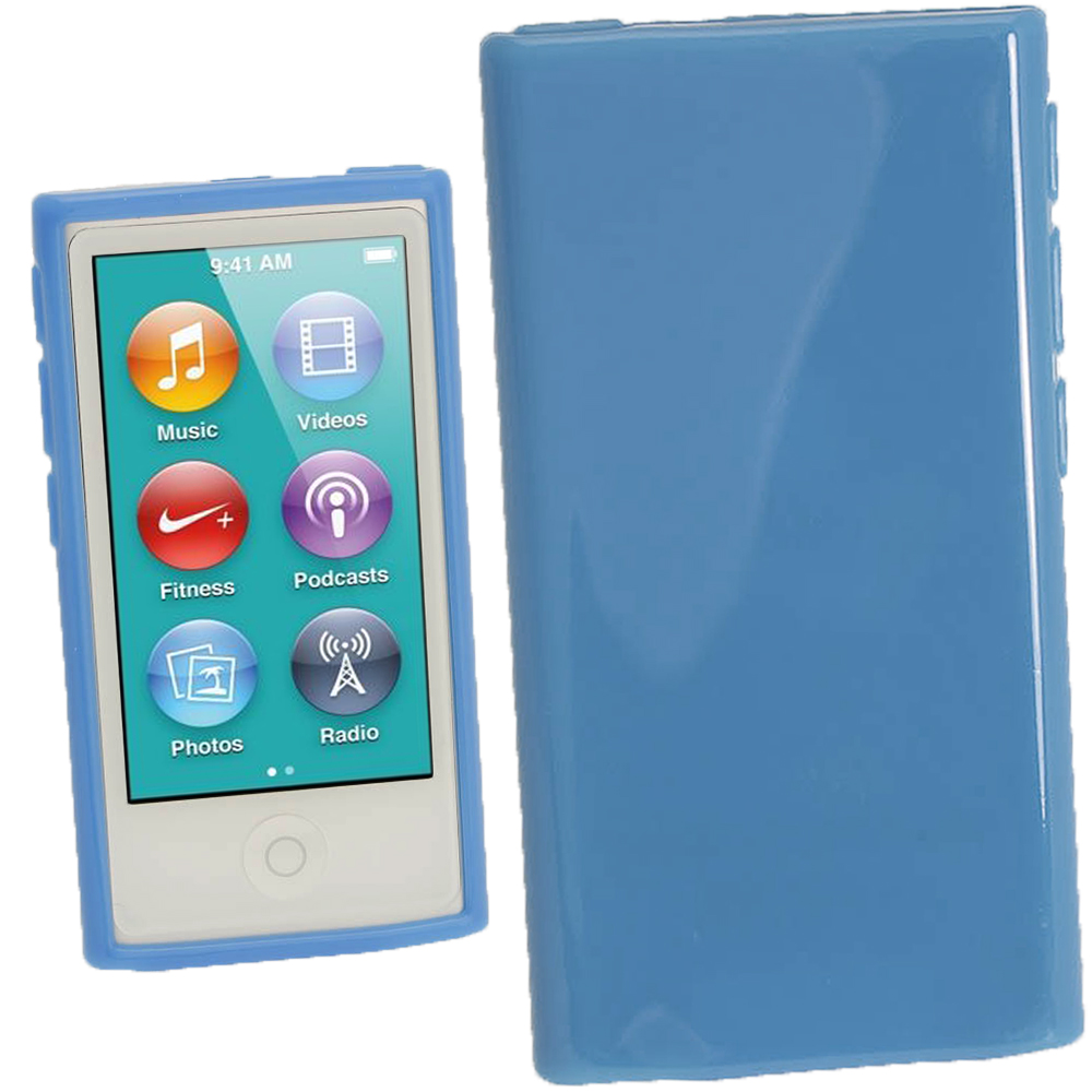 iGadgitz Blue Glossy Gel Case for Apple iPod Nano 7th Generation 7G 16GB + Screen Protector