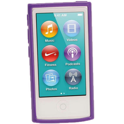 iGadgitz Purple Glossy Gel Case for Apple iPod Nano 7th Generation 7G 16GB + Screen Protector Thumbnail 2