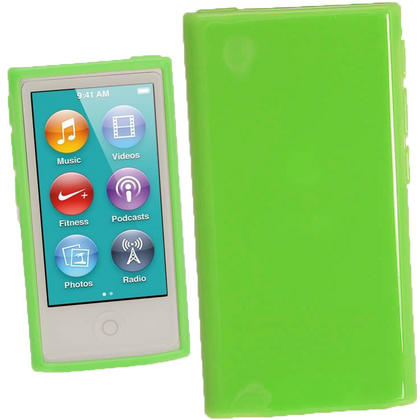 iGadgitz Green Glossy Gel Case for Apple iPod Nano 7th Generation 7G 16GB + Screen Protector Thumbnail 1