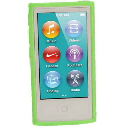 iGadgitz Green Glossy Gel Case for Apple iPod Nano 7th Generation 7G 16GB + Screen Protector Thumbnail 2