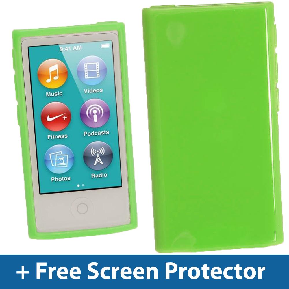 green glossy tpu gel case for new apple ipod nano 7th