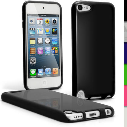 iGadgitz Black Glossy Crystal Gel Skin TPU Case Cover for Apple iPod Touch 6th & 5th Generation + Screen Protector Thumbnail 1