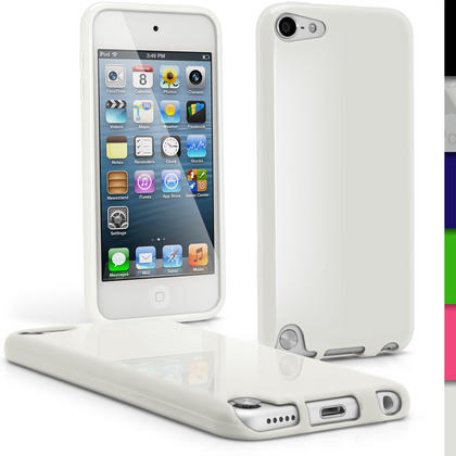iGadgitz White Glossy Crystal Gel Skin TPU Case Cover for Apple iPod Touch 6th & 5th Generation + Screen Protector Thumbnail 1