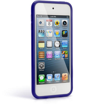 iGadgitz Blue Glossy Crystal Gel Skin TPU Case Cover for Apple iPod Touch 6th & 5th Generation + Screen Protector Thumbnail 4