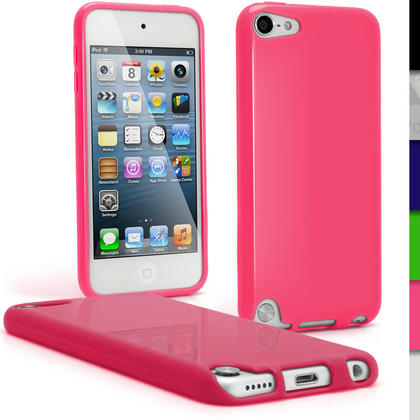 iGadgitz Pink Glossy Crystal Gel Skin TPU Case Cover for Apple iPod Touch 6th & 5th Generation + Screen Protector Thumbnail 1