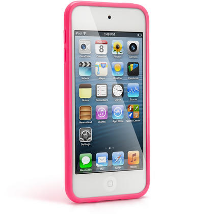 iGadgitz Pink Glossy Crystal Gel Skin TPU Case Cover for Apple iPod Touch 6th & 5th Generation + Screen Protector Thumbnail 4