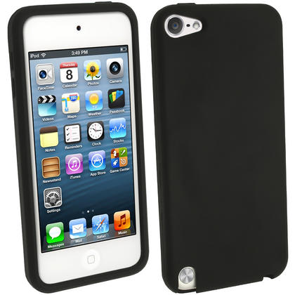 iGadgitz Black Silicone Skin Case Cover for Apple iPod Touch 6th & 5th Generation + Screen Protector Thumbnail 1