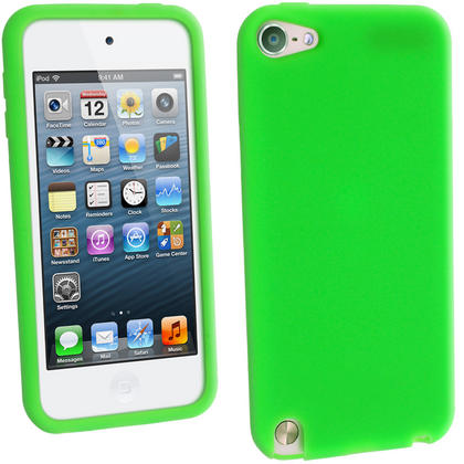 iGadgitz Green Silicone Skin Case Cover for Apple iPod Touch 6th & 5th Generation + Screen Protector Thumbnail 1