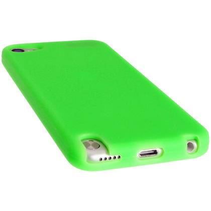 iGadgitz Green Silicone Skin Case Cover for Apple iPod Touch 6th & 5th Generation + Screen Protector Thumbnail 2