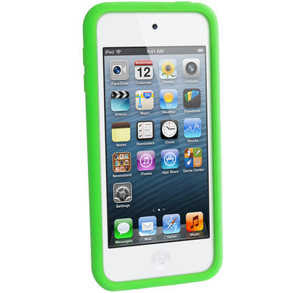 iGadgitz Green Silicone Skin Case Cover for Apple iPod Touch 6th & 5th Generation + Screen Protector Thumbnail 4