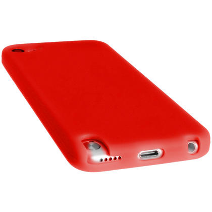 iGadgitz Red Silicone Skin Case Cover for Apple iPod Touch 6th & 5th Generation + Screen Protector Thumbnail 2