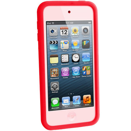 iGadgitz Red Silicone Skin Case Cover for Apple iPod Touch 6th & 5th Generation + Screen Protector Thumbnail 3