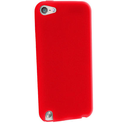 iGadgitz Red Silicone Skin Case Cover for Apple iPod Touch 6th & 5th Generation + Screen Protector Thumbnail 4