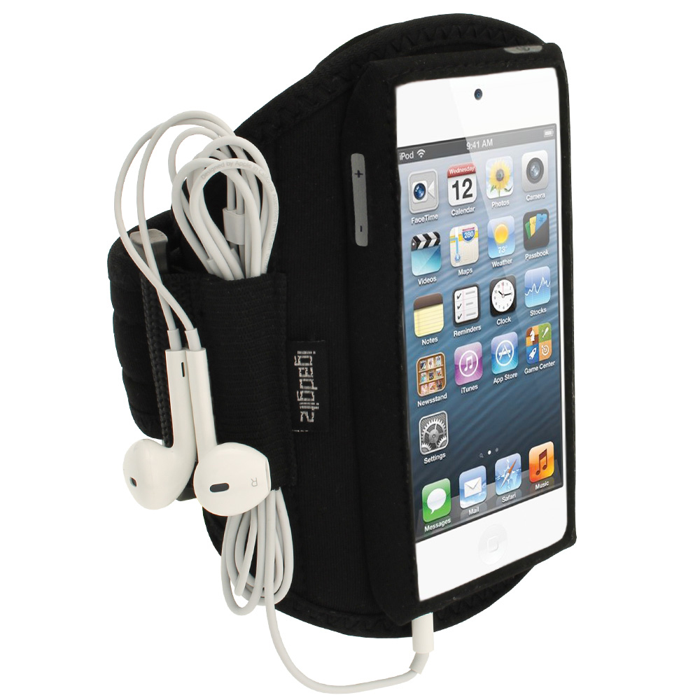 iGadgitz Black Water Resistant Neoprene Sports Gym Jogging Armband for Apple iPod Touch 6th & 5th Generation