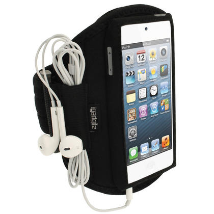 iGadgitz Black Water Resistant Neoprene Sports Gym Jogging Armband for Apple iPod Touch 6th & 5th Generation  Thumbnail 1