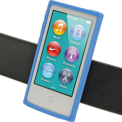iGadgitz Blue 'Clip'n'Go' Gel Case for Apple iPod Nano 7th Gen with Integrated Sports Clip + Screen Protector Thumbnail 5