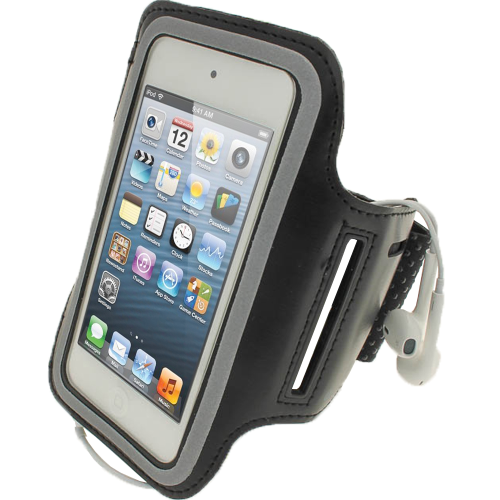 iGadgitz Black Reflective Neoprene Sports Gym Jogging Armband for Apple iPod Touch 6th & 5th Generation