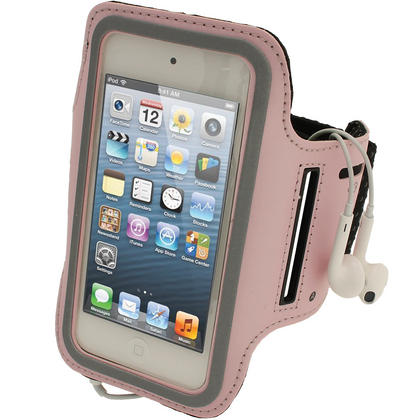 iGadgitz Pink Reflective Neoprene Sports Gym Jogging Armband for Apple iPod Touch 6th & 5th Generation Thumbnail 1
