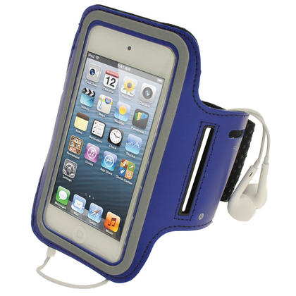 iGadgitz Blue Reflective Neoprene Sports Gym Jogging Armband for Apple iPod Touch 6th & 5th Generation Thumbnail 1